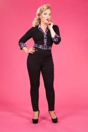 Miss Candyfloss Dorielle Lou playsuit black met paarse accenten | Broeken | Miss Vintage | Retro, vintage geïnspireerde dames kleding