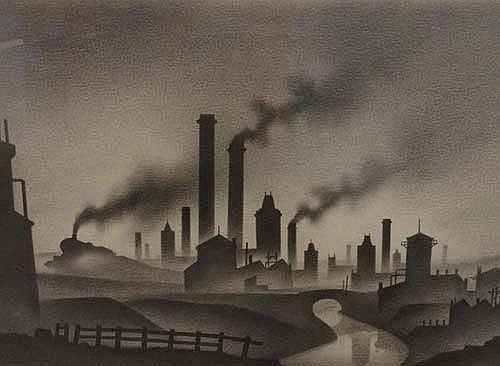 Trevor Grimshaw (1947-2001); charcoal and graphite. Industrial landscape with train..