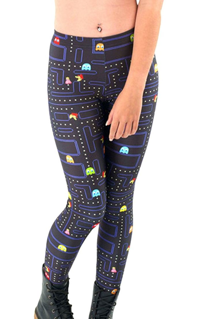 #afflink Womens Pacman Game Cartoon Printing Summer Breathable Leggings Free Size at Amazon Women's Clothing store: