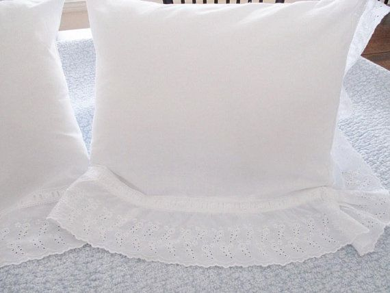 WHITE EYELET PILLOWS, set of 2 vintage decorative pillows with cushions, white cotton, removable cushions, custom design