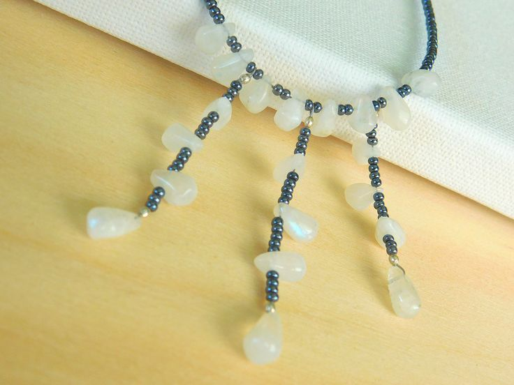 Moonstone Beaded Necklace, Beaded Necklace, Seed Bead Necklace, Boho Chic Beaded Necklace by jljewellerydesign on Etsy
