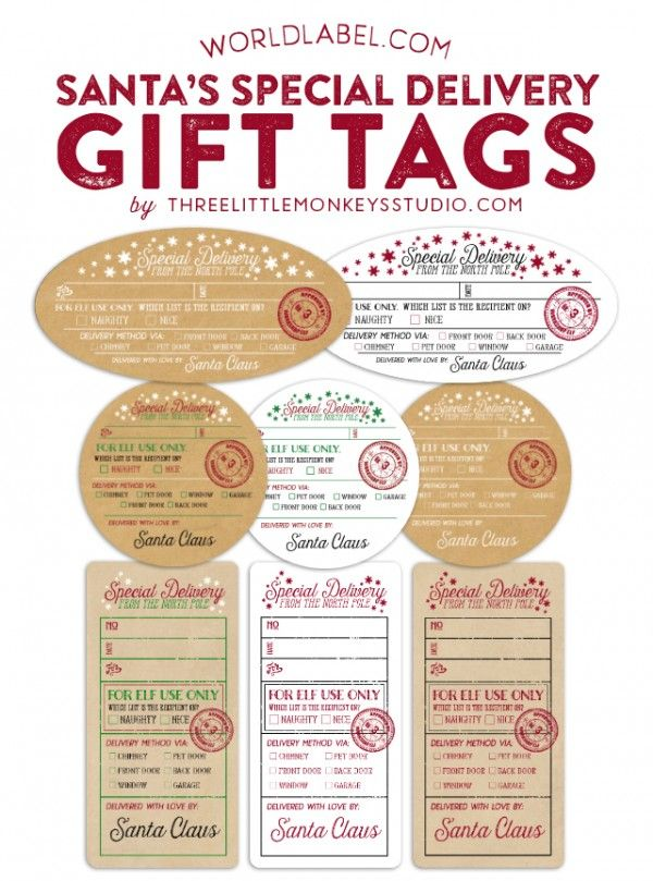 "{note} Santa's Special Delivery gift labels: Designer Gretchen of Threelittlemonkeys.com Link: http://www.threelittlemonkeysstudio.com/santas-special-delivery-printable-gift-tags/ Reward those that made it on the ""nice"" or ""naughty"" list! Free Download (NOTE! You can't  edit the text in your browser), open the file PDF in Adobe Acrobat or Reader. The font is already embedded, just type in names & dates. Then print on the white label paper specified or kraft label paper. #eaglehoof"