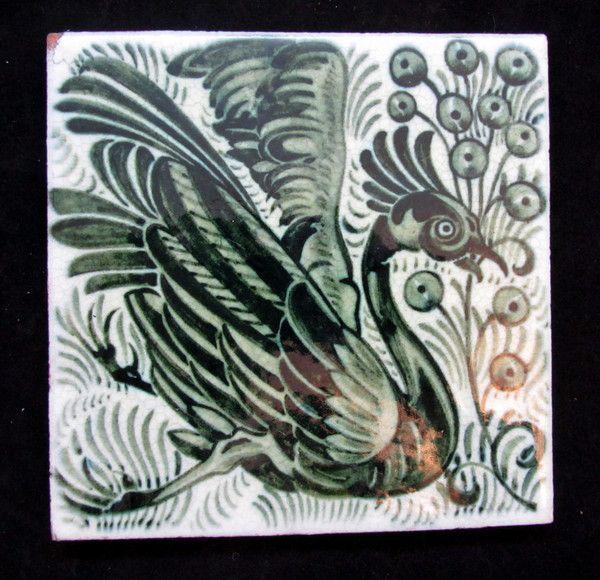 William De Morgan Bird Tile by WILLIAM DE MORGAN - AD Antiques