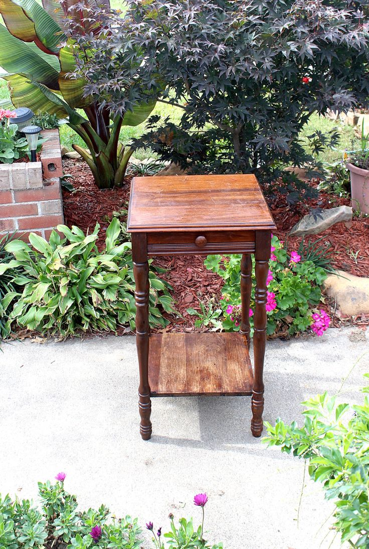 Antique 30s, Heavy Side Table with Drawer, Solid Hardwood, Walnut, No Major Damage, Worn Varnish, Solid Sturdy Table Original Finish, by QUEENIESECLECTIC on Etsy