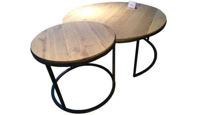 Heron coffee tables with Old Steel and Oak - Heron tafelset met de afwerking Old Steel en Eiken tafelblad
