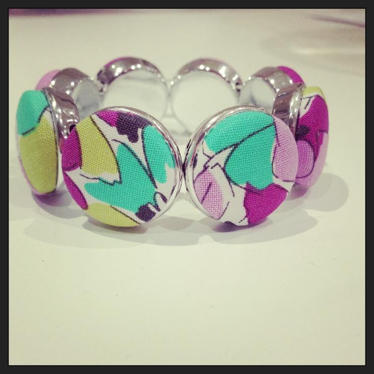 Fabric button bracelet