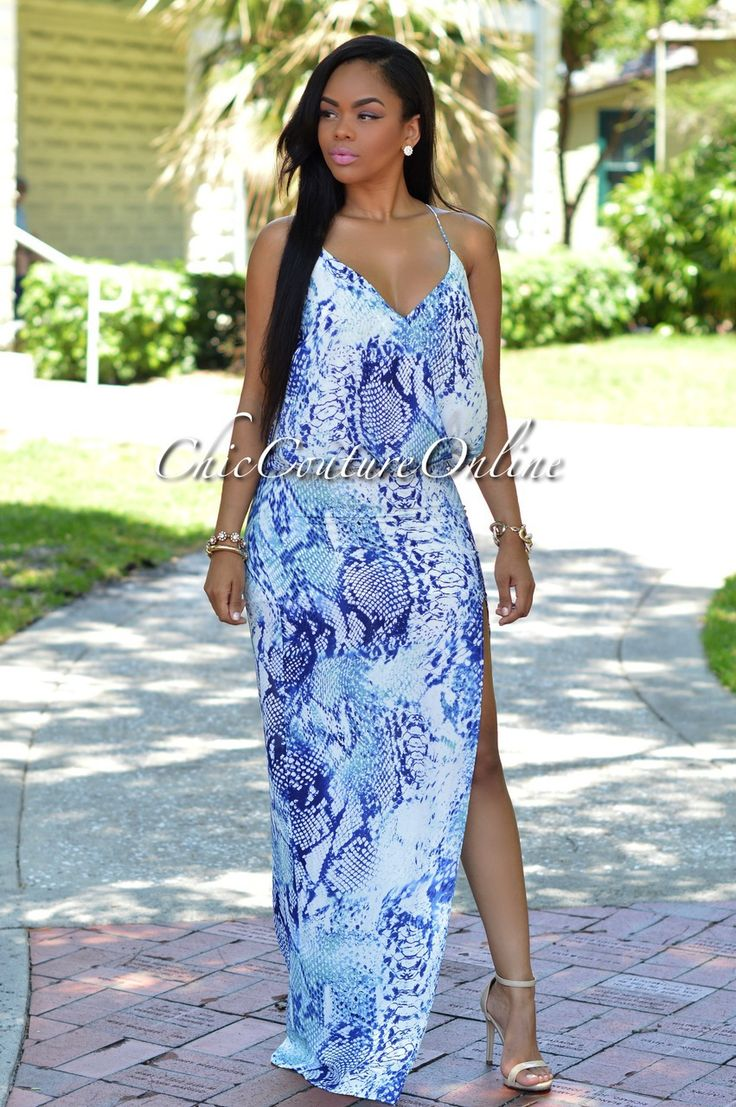 Chic Couture Online - Paradise Blue Python Print Maxi Dress, (http://www.chiccoutureonline.com/paradise-blue-python-print-maxi-dress/)