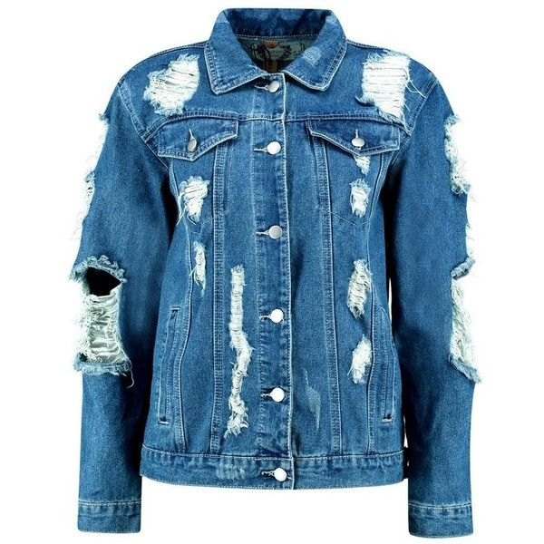 Boohoo Jodie Oversized Super Distressed Denim Jacket ($44) ❤ liked on Polyvore featuring outerwear, jackets, veste, oversized bomber jacket, blue puffer jacket, duster coat, bomber jacket and puffa jackets