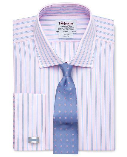 Slim Fit Pink Blue Stripe Poplin Double Cuff Shirt,