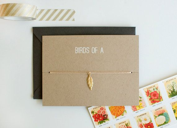 Birds Of A Feather Choker Charm Card Gold Friendship Necklace Bridesmaid Gift Birthday Best Friends Bff Love Stylish