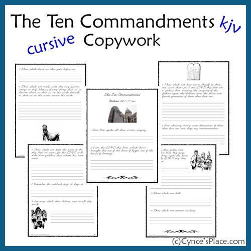 Ten Commandments Copywork  in Cursive - kjvFree Copywork, Free Ten, Free Bible, Command Copywork, Cursive Copywork, Copywork Kjv, Command Cursive, Ten Command, Copy Work