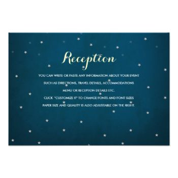 """Starry night sky with midnight blue with light yellow and white text. All text is editable; header can become """"Directions, Accommodations, Travel"""" etc. to suite your needs. Starry Night Sky Wedding Invitation by beckynimoy Look at more Starry night wedding Invitations at zazzle Starry Night Sky Wedding Invitation by beckynimoy See more Starry night wedding Invitations at zazzle.com Starry Night Sky Wedding RSVP Response Card by beckynimoy See more Starry night sky rsvp Invitations at ..."""