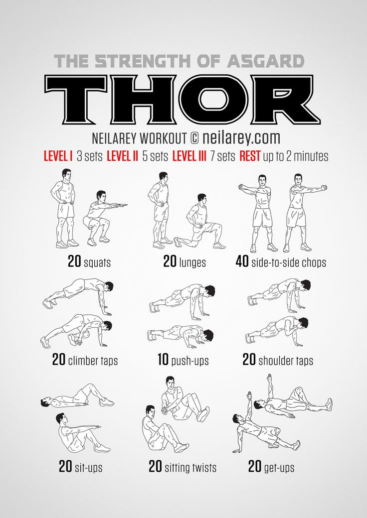 No equipment visual Thor workout: the Strength of Asgard