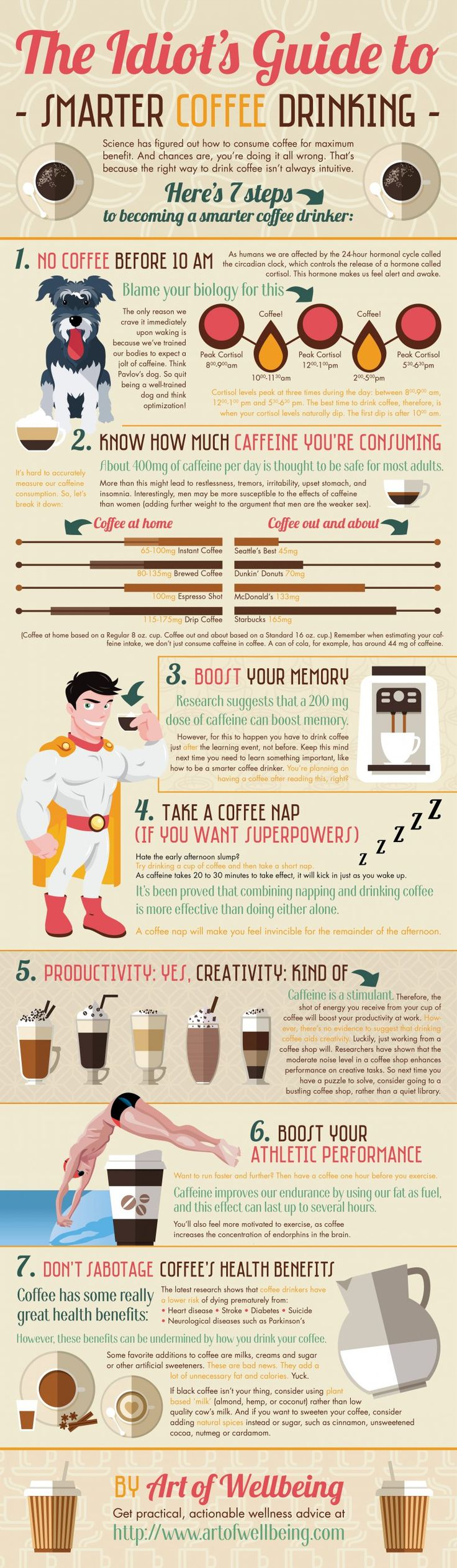 """Coffee can be a healthy energy booster, but it really comes down to timing. This helpful infographic will show you how to maximize your cup of joe."""
