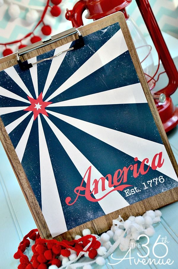 Free printable vintage 4th of July poster. Nice.