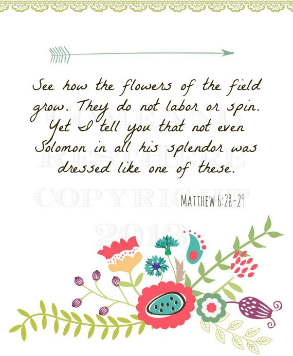 Printable Flowers of the Field Matthew 6:28-29 by ComeAndRestHere, $5.00