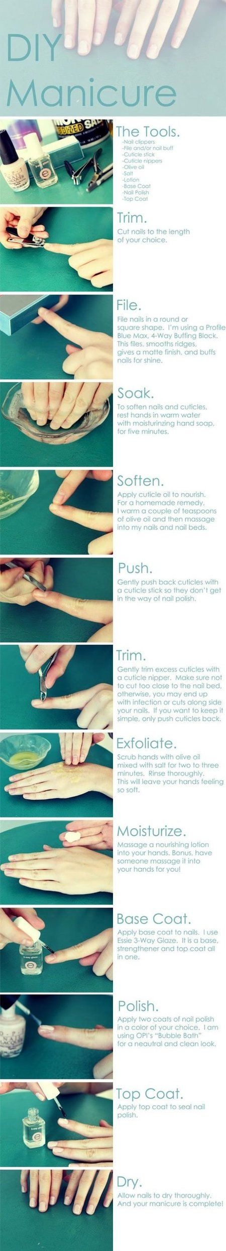 DIY Manicure. Although I would replace the base coat with just prepping/removing oils from the nail with vinegar or nail polish remover.