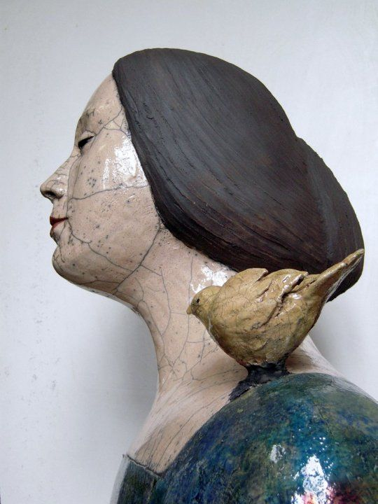 Mélanie Bourget | French Figurative sculptor (I love the bird on the shoulder.)