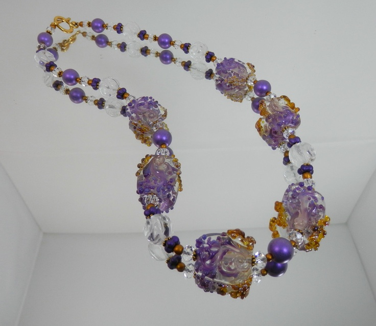 purple burnished gold and carved quartz necklace set featuring artist lampwork beads