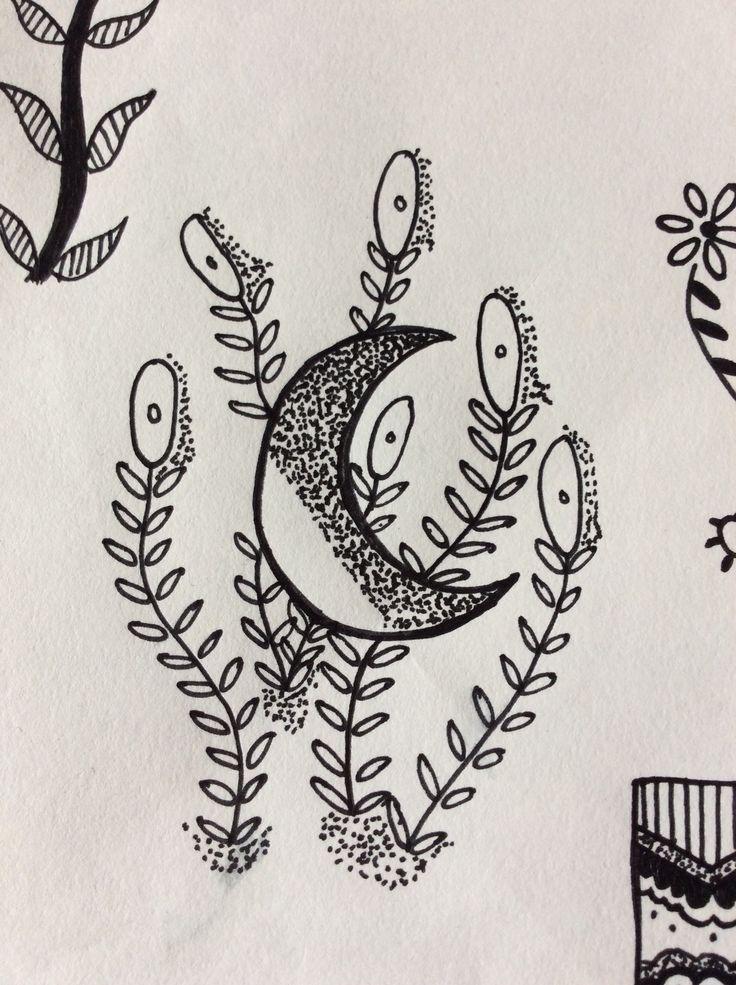 Small dot work moon amongst flowers,