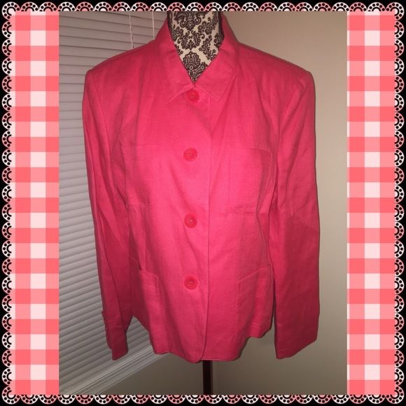 Talbots coral jacket. Perfect for spring Talbots button up coral jacket. So comfortable and perfect color for spring. Never worn. Excellent condition. Talbots Jackets & Coats Blazers