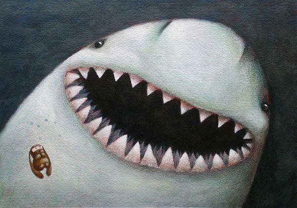 """SHARK"" illustration by Sarah Khoury. From the book ""Ciacio e il mare"" (Ciacio and the sea), 2011"