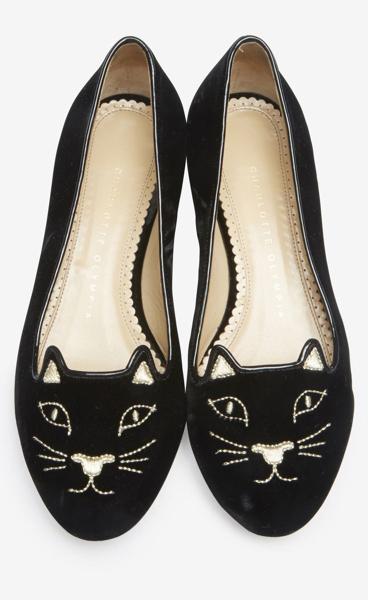 Charlotte Olympia Black Kitty Flat | VAUNTE  In case there was any doubt that I'm a crazy cat lady.