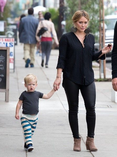 Hilary Duff and Mike Comrie take their son, Luca Cruz Comrie, to her sister, Haylie Duffs, Book signing for her new book Real Girl's Kitchen...