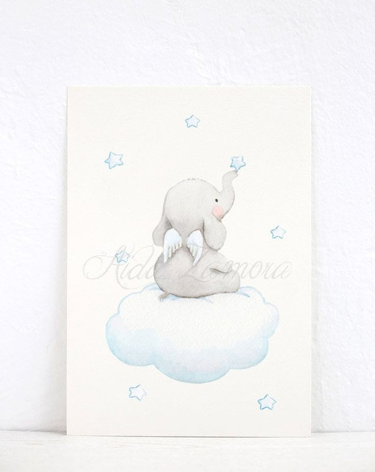 "SET of three Nursery Art ""ELEPHANTS with WINGS"" Nursery wall art, Nursery Elephant Print, Elephant art, Pastel colors prints, Aida Zamora"