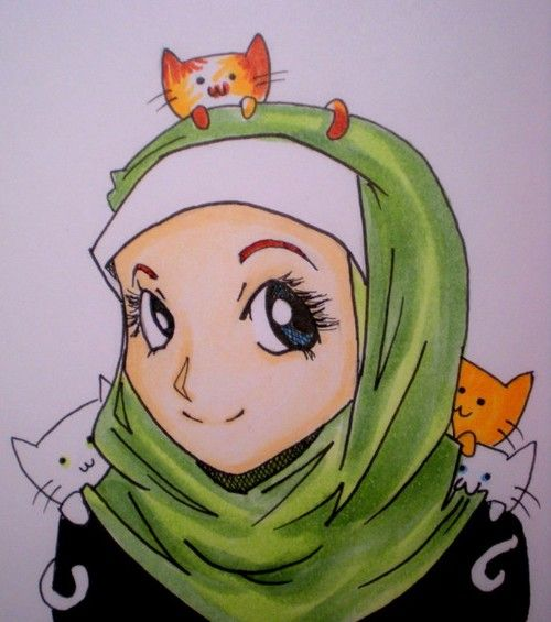 Happy Muslimah With Cats | Quotes, Posters, Drawings, Calligraphy, and Photos