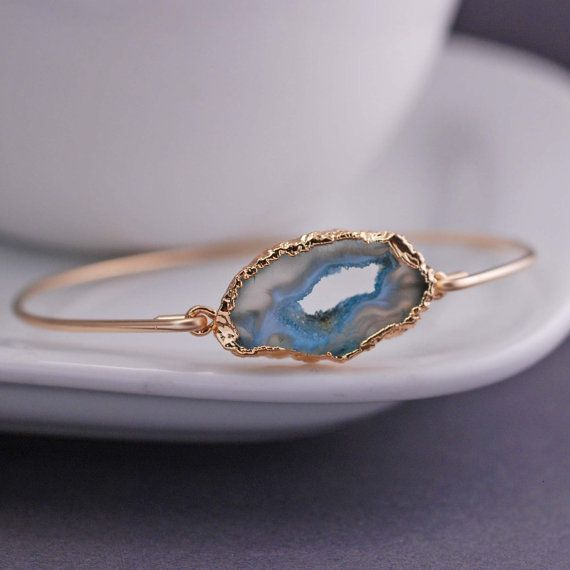 Gold Agate Slice Bracelet Blue Agate Slice by georgiedesigns