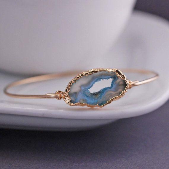 Gold Blue Agate Slice Bracelet by georgiedesigns