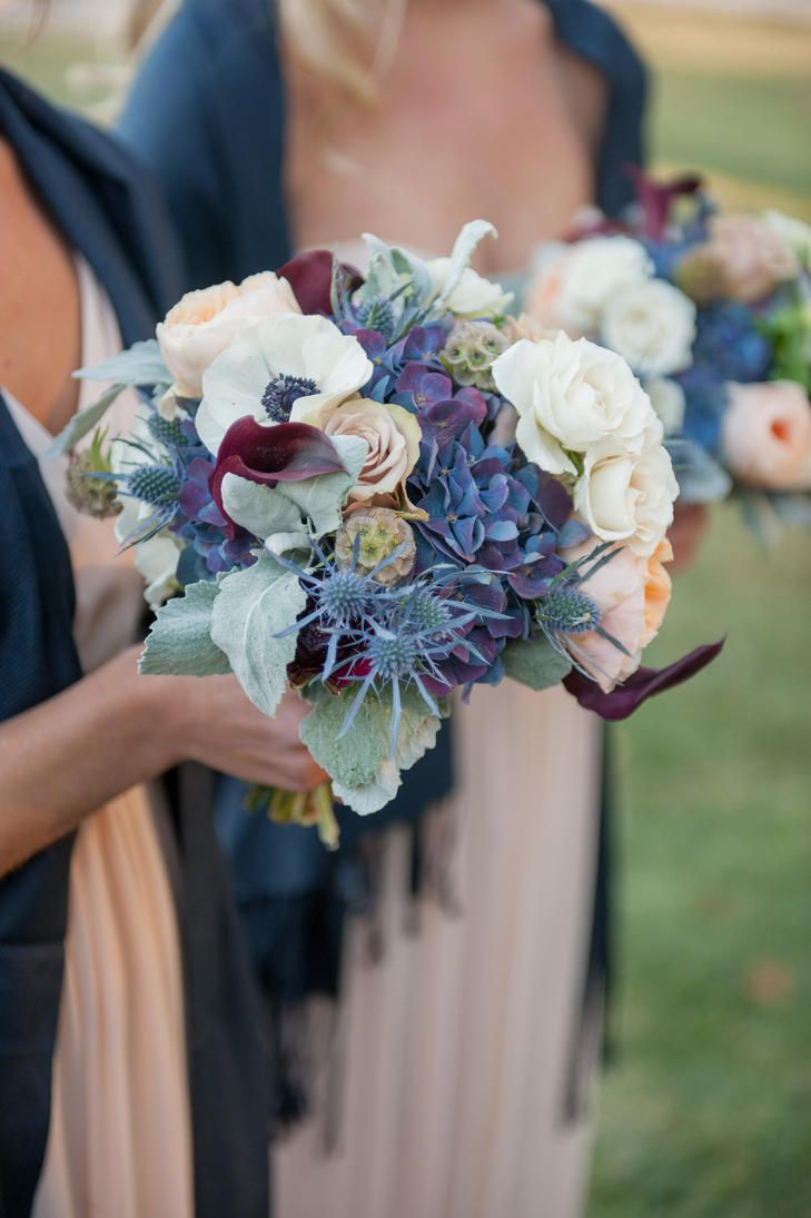 Dramatic Blue and Ivory Bridesmaid Bouquets | BREA MCDONALD PHOTOGRAPHY | LANI TOSCANO PLANNING | http://knot.ly/6495B0Gv1 |  http://knot.ly/6499B0GvJ