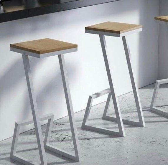 Height 13 40in 33 99cm Wood Metal Stool In 2020 Wood Metal Stool Metal Stool Metal Furniture Design