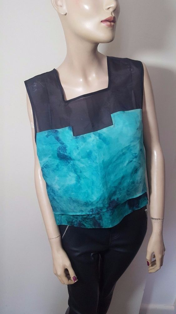 Whistles Top Size 14 100% Silk Green Blue Sheer Mesh Vest Evening Party Cropped  #Whistles #VestTopStrappyCami #Casual
