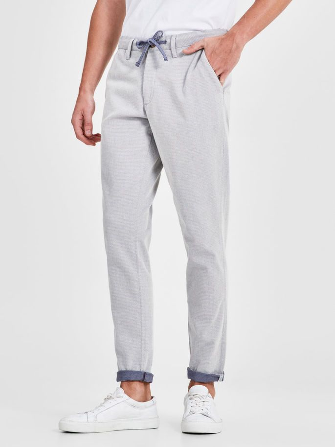 Light grey chino pants with blue details, with added stretch - MARCO CUBA AKM 959 LILY WHITE CHINOS | JACK & JONES