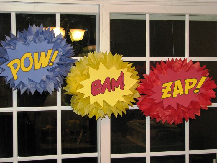 Superhero tissue paper pompom to decorate class