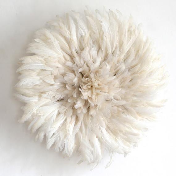 White Bamileke Juju Hats Set Of 3 Juju Hat Interior Decor Home And Living Wall Hanging Feather Headdress Tyn Hat In 2021 Juju Hat Hanging Feathers Feather Headdress