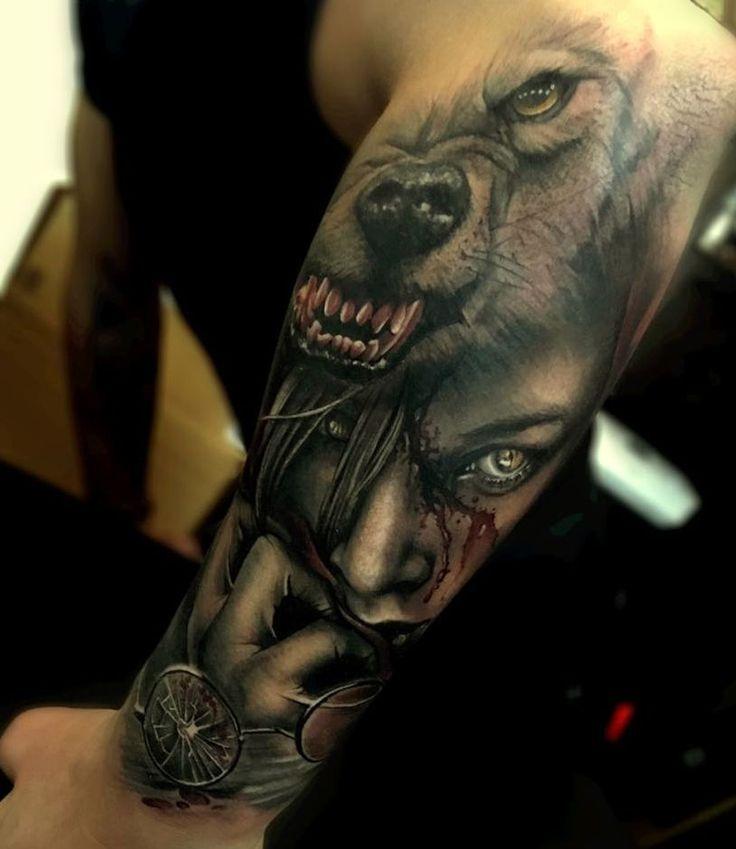 twarz kobiety i głowa wilka