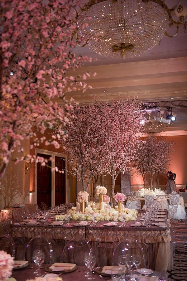 I love the indoor cherry blossom trees at this wedding