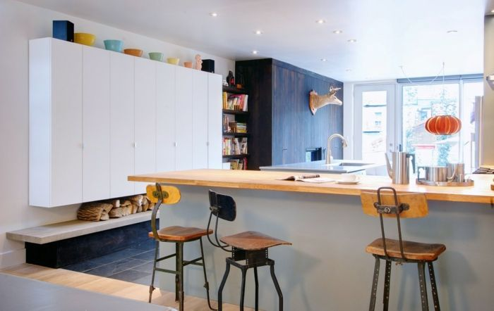 cuisine ikea chaises de bar en style industriel