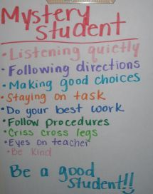 "Before each lesson I pick a Mystery Student to watch for. They don't know who I am ""watching"" out for. Sometimes during a lesson I say, ""Wow! I wonder if my Mystery Student is totally on task!"" All of a sudden, I have 15 pairs of eyes on me. If the Mystery Student follows the ""rules"" they receive a reward of some kind. If the Mystery Student does not follow the rules - a brief, vague discussion is had with the whole group about what we should be working on to earn ""Mystery Student"". Fun and…"