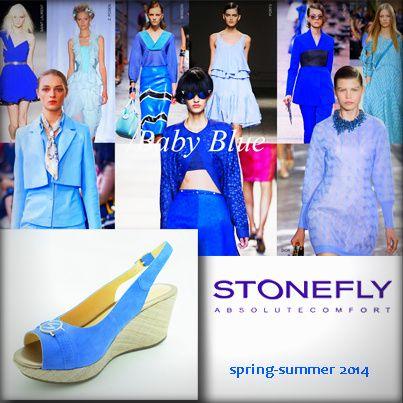 Από τις πιο #hot τάσεις της μόδας για την Άνοιξη και το Καλοκαίρι του 2014, είναι το #μπλε χρώμα - στα ρούχα, στο μακιγιάζ, τα νύχια και φυσικά και τα παπούτσια! Stonefly σουέντ #ανατομική_πλατφόρμα
