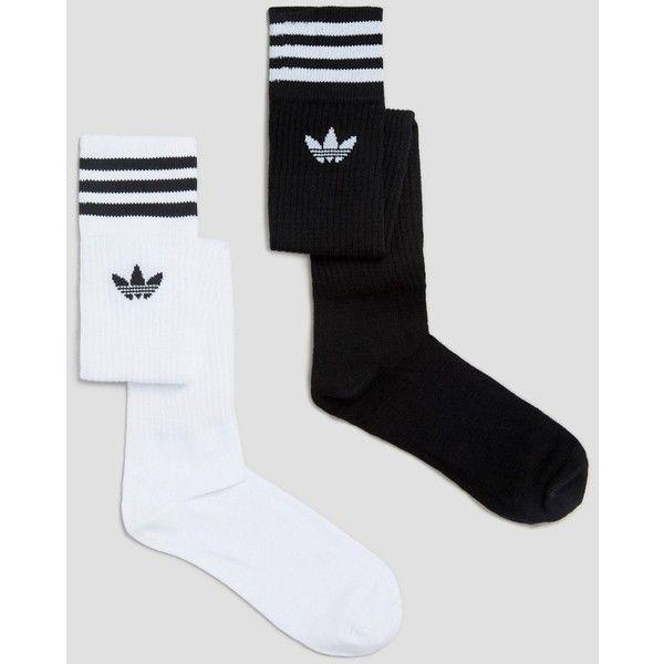 adidas Originals 3 Stripe Knee High Socks ($18) ❤ liked on Polyvore featuring intimates, hosiery, socks, white, white socks, stripe socks, striped knee socks, white knee socks and knee high hosiery