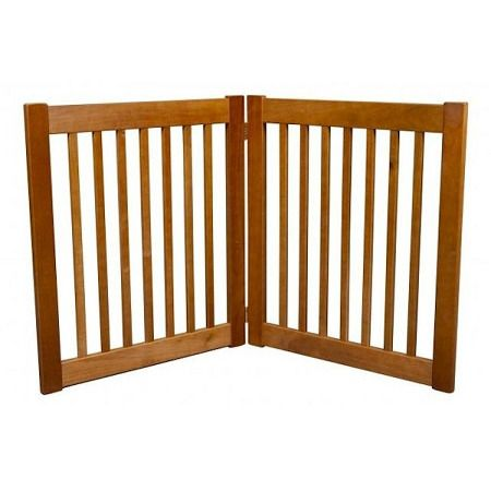 """Two Panel EZ Pet Gate - Small/Artisan Bronze. Features:   27"""" Tall   Adjusts up to 36"""" Wide   Bar Spacing 1.75""""   All Wood Construction   Available in Black, Artisan Bronze and Mahogany    Built to span;small open areas.The Two Panel EZ Pet Gates modular gates bring all new functionality to pet gates. With this collapsible pet gate;you be able to;block off any room in the house in a snap! Double action hinges allow for multiple set-ups so you can even block;those tough hallway..."""