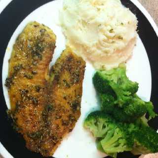 Tilipia with Herb Butter Sauce..Garlic Mashed Potatoes and Steamed Broccoli