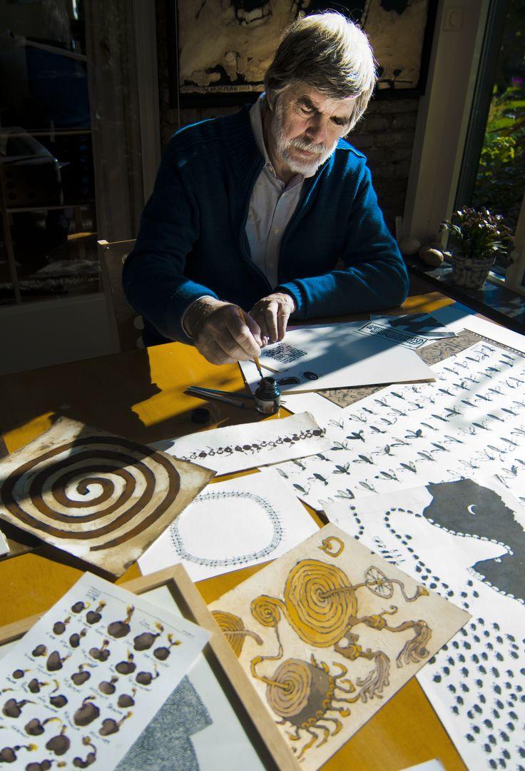 Wim Hofman in zijn atelier foto: Bo de Jong