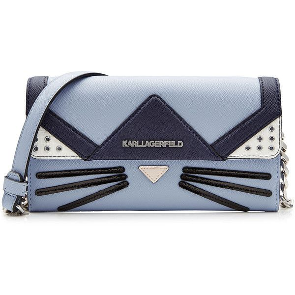 Karl Lagerfeld Cat Crossbody Mini Shoulder Bag found on Polyvore featuring bags, handbags, shoulder bags, clutches, bolsos, purses, blue, mini crossbody, shoulder strap handbags and purse shoulder bag