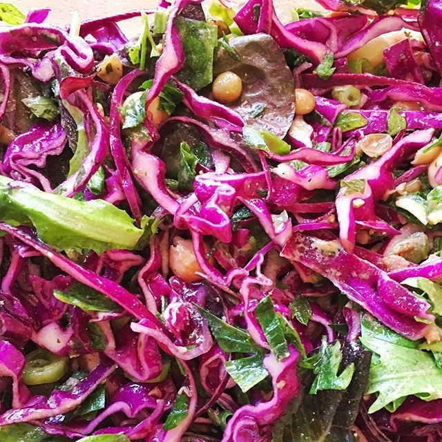 BREAKFAST LENTIL CABBAGE SALAD - I eat a version of this salad just about everyday, usually for breakfast. It's one of my favorites. It's packed with proteins, fiber, vitamins, minerals and it's full of antioxidant healing properties. #redcabbage #parsley #lemon #lentils #garbonzobeans #baby #greens #antioxidants #superfood #primal #paleo #vegetarian #vegan #brewersyeast #dressing #mint #onion #delicious #mom #keto #growth #family #healthy #personalchef #nutrition #nutritionalcoach…
