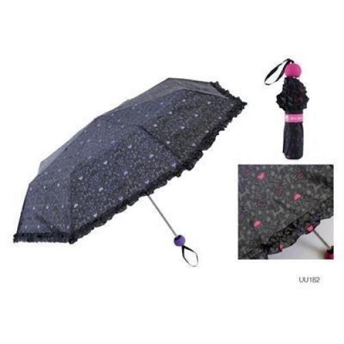 KS Brands UU0182 Umberella Supermini Handbag Size Brolly Frilly Black Pink Dots